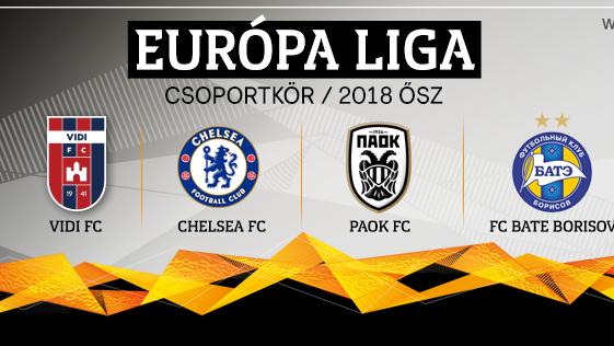 Európa-liga - A Chelsea is a Vidi ellenfelei között
