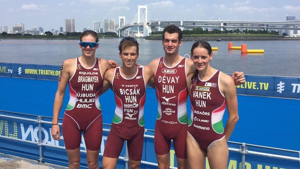 A kilencedik lett a magyar váltó a triatlonosok olimpiai tesztversenyén